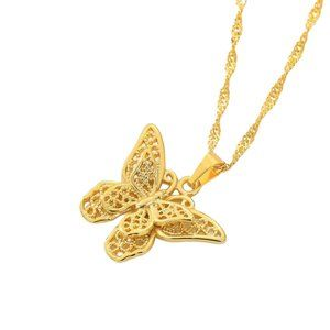 Jewelry - Butterfly Necklace ,With Gift Box, 24K Gold Plated